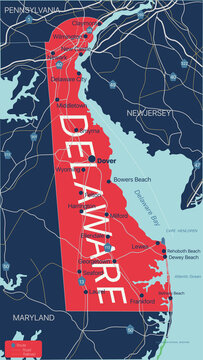 Delaware state detailed editable map with with cities and towns, geographic sites, roads, railways, interstates and U.S. highways. Vector EPS-10 file, trending color scheme