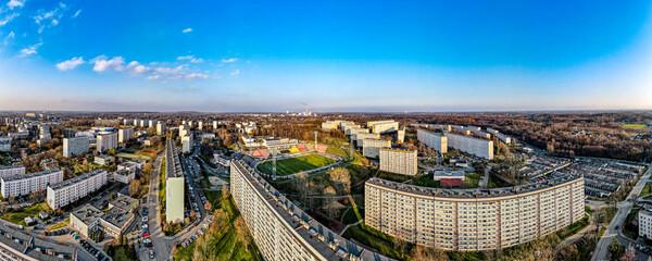 Fototapeta miasto Jastrzębie Zdrój na Śląsku w Polsce z lotu ptaka, jesienią