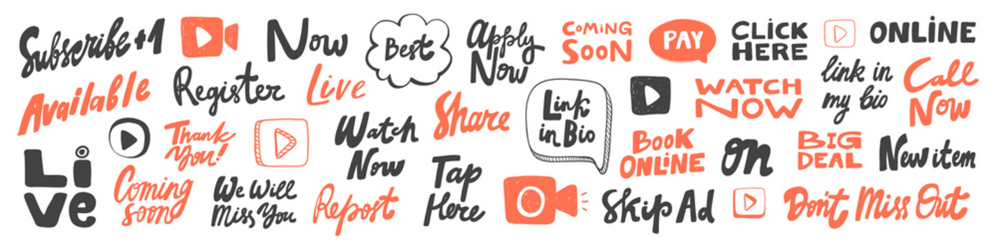 Vector hand drawn sticker logo words set collection.