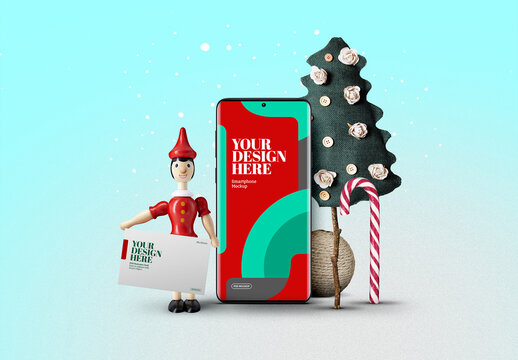 Christmas Smartphone and Wooden Doll Toy Mockup