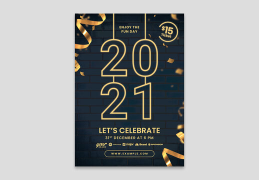 New Years Eve Flyer Layout with Nightlife theme