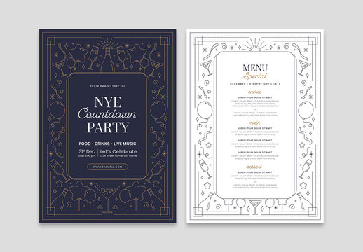 New Years Eve Menu Flyer Layout with Minimal Nye Illustrations