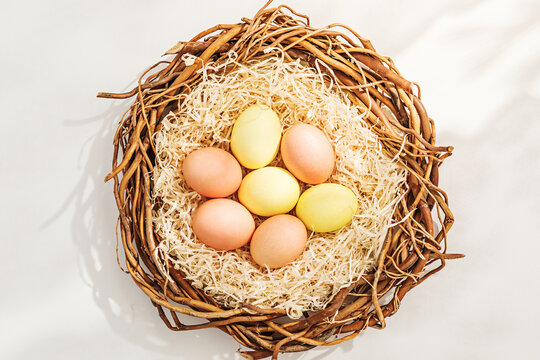 Rural Easter composition with colorful eggs in nest