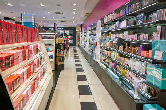 MILAN, ITALY - CIRCA NOVEMBER, 2017: inside Sephora store in Milan. Sephora is a French chain of cosmetics stores.