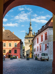 Wall Mural - Landscape with Clock Tower in the medieval city of Sighisoara, Transylvania landmark, Romania