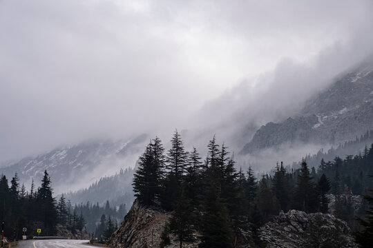 misty weather in the mountains and a cold season in December