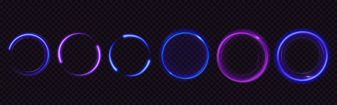 Glow circles with sparkles, magic light effect. Vector realistic set of blue and purple shiny rings and swirls, round frames of flare trail with glitter dust isolated on transparent background