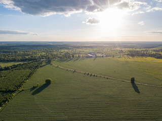 Wall Mural - Aerial panoramic drone view of the countryside area on a sunny day.