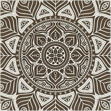 Ornamental Geometric Pattern Design On Brown Silk Fabric
