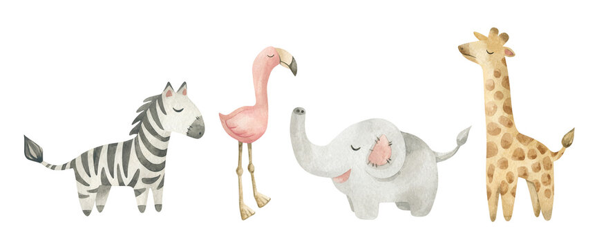 Watercolor illustration set with cute toys for kids. Zebra, flamingo, elephant, giraffe. Nursery design elements. Hand drawn animals. Baby home decor