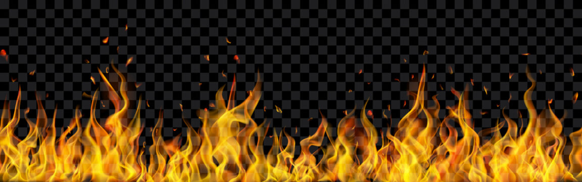 Translucent fire flames and sparks with horizontal repetition on transparent background. For used on dark illustrations. Transparency only in vector format