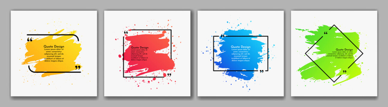 Vector illustration. Quote frames blank templates set. Text in brackets. Dynamic frames on white background. Colorful banners collection. Social media template. Ink brush strokes with splashes