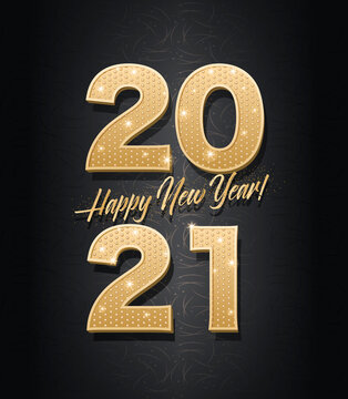 Vector template. Gold glitter numbers 2021. Happy new year!
