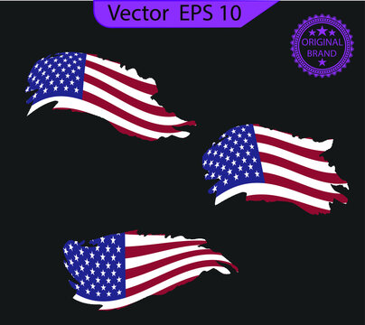 Set American flags. Brush painted flags of USA. Hand drawn style illustration with a grunge effect.   American flags with grunge texture. Grunge american ink splattered flag vector.