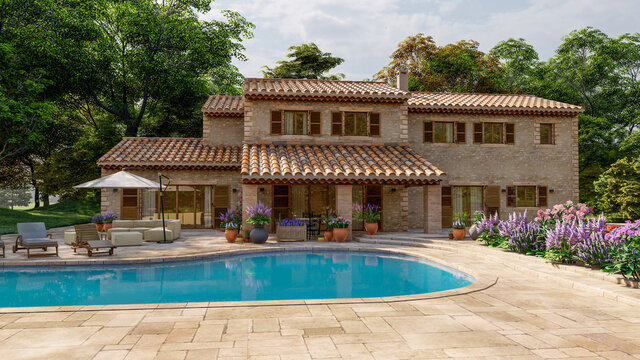 Mediterranean style villa with pool and garden