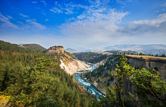 The Yellowstone River winds through the Grand Canyon of Yellowstone. Yellowstone National Park, Wyoming