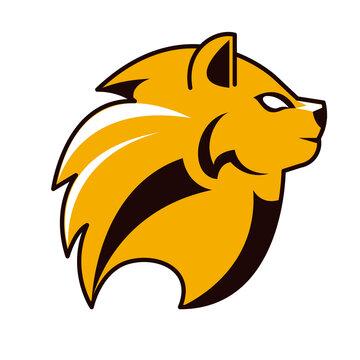 lion head profile animal emblem icon