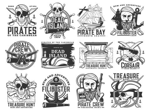 Pirate icons, vector Jolly Roger skulls or skeleton heads, black flag, captain tricorn sailor hat, crossed bones, swords or sabers and anchor with spyglass. Dead island, flibusters piracy symbols