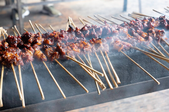 One of the typically Indonesian foods is satay or sate. This food is made from beef or mutton or chicken which is grilled over smoky coals then served with peanut sauce and soy sauce.
