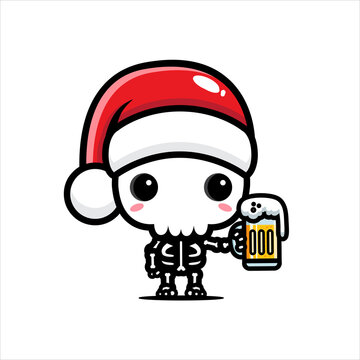 cute skull character wearing santa hat holding a glass of beer