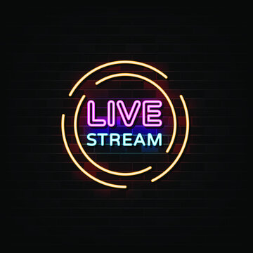 Live stream neon signs vector. Design template neon sign