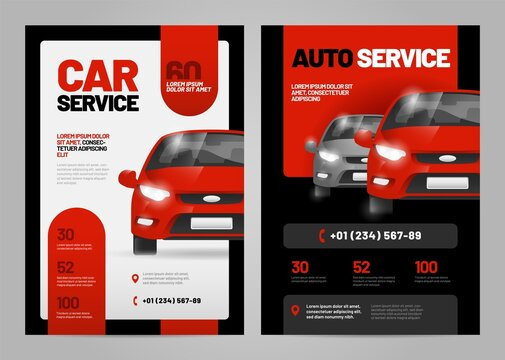 Vector layout design for car service and repair. Adapt to poster, flyer or banner. A4 size.