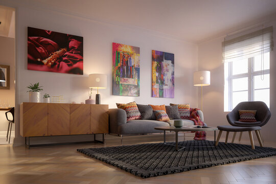 Furnishings and Art Panintings Inside an Apartment - 3D Visualization