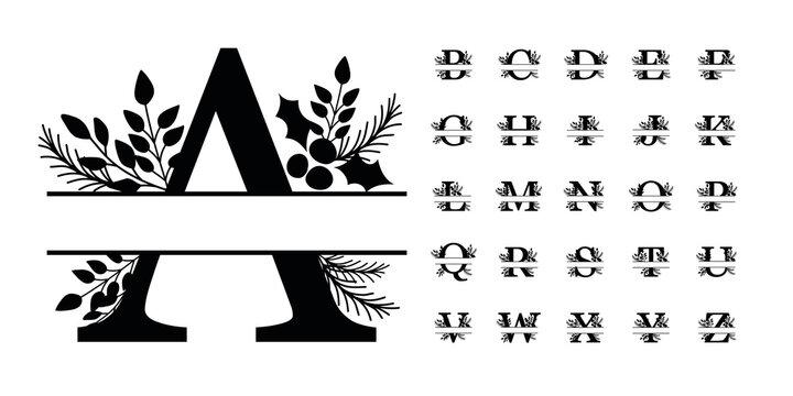 Christmas florals split monograms Alphabet