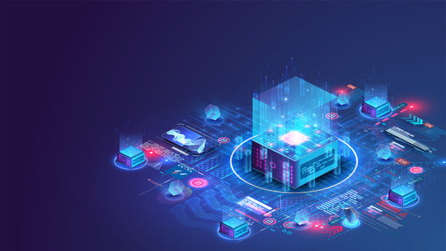 Concept big data processing center, cloud database, server energy station future. Data transmission technology. Cube or box Blockchain  Information storage and analysis system. Vector isometric