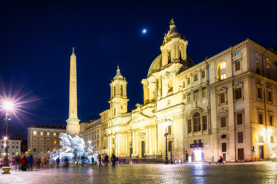 Architecture of Piazza Navona in Rome at night, Italy