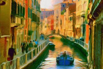 Impressionnisme, surréalisme. Un canal à Venise. Italie