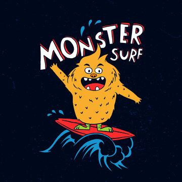 Vector illustration of cartoon surf monster