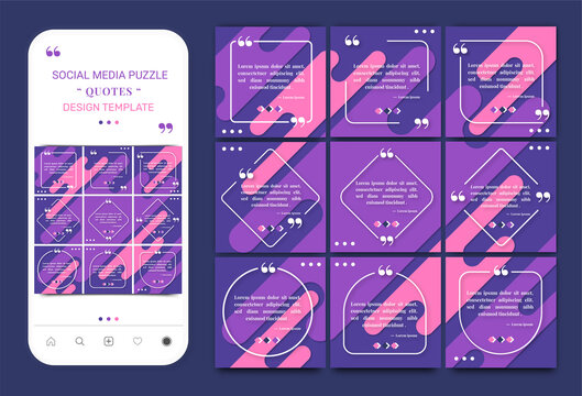 Social media quotes instagram post square puzzle template