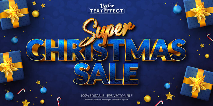 Super christmas sale text, golden color style editable text effect