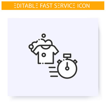 Express laundry line icon. Speed clothes washing, dry cleaning. Launderette. Quick services, short term, rapid work, time management concept. Isolated vector illustration. Editable stroke