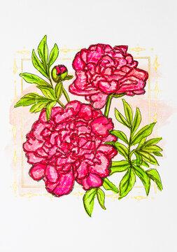 Blumenkarte Aquarell handgemalt
