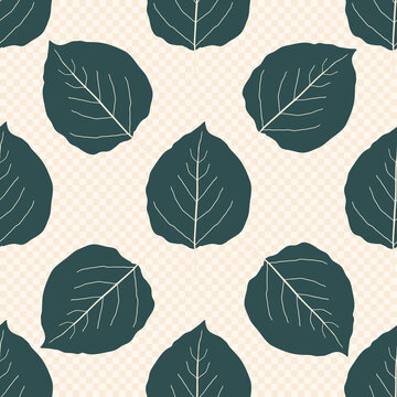 Sea green color aspen leaf seamless vector pattern background. Beautiful hand drawn leaves in fall colors on neutral backdrop. Botanical foliage design with veins. Elegant geometric all over print.