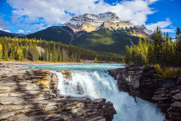 Athabasca Falls, popular with tourists