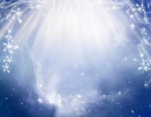 Wall Mural - abstract angelic mystic mystical magic magical religious spiritual blue background with divine rays of Light and universe