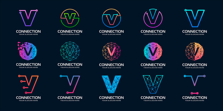 set of creative letter V Modern Digital Technology Logo Design. The logo can be used for technology, digital, connection, electric company.
