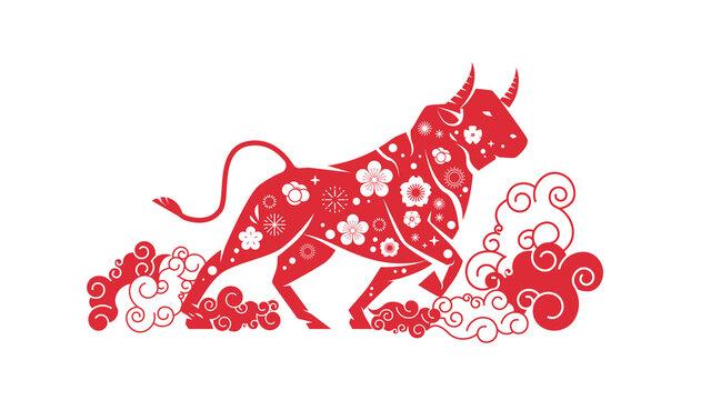 ox bull buffalo icon chinese happy new year poster zodiac sign horizontal vector illustration