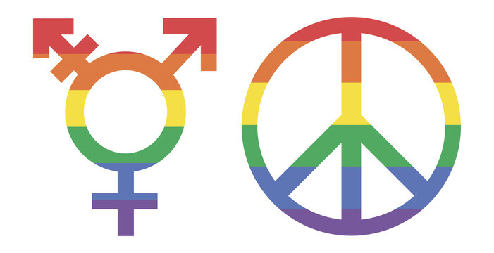 LGBT. Flat illustration of LGBT peace and vector icon for web. Rainbow Transgender Symbol - Colorful rainbow transgender symbol with horizontal stripes