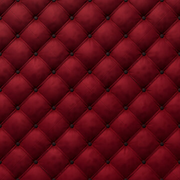 Close-up on the background of a red antique textile sofa in the style of Chesterfield, 3D-rendering