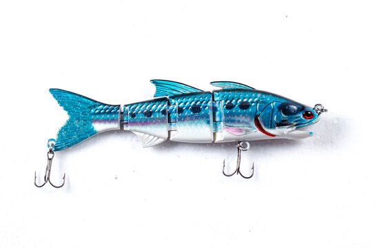 Close up product image of a fishing lure on white background