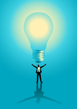 Businessman with giant bulb on top of him