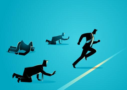 Businessmen reaching finish line