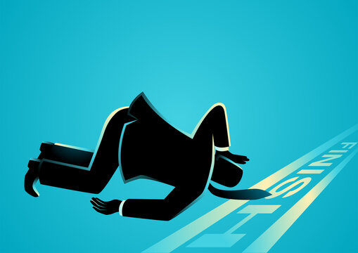 Businessman fell down before finish line