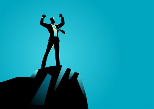 Businessman standing on top of rock
