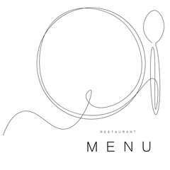 Fototapeta Menu restaurant background with plate and spoon. Vector illustration
