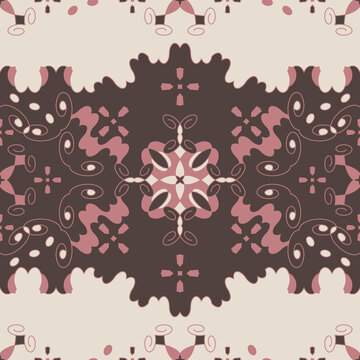 Seamless pattern retro, vintage. Chocolate color, pink and cream ivory. Spirals and abstract. Vector.
